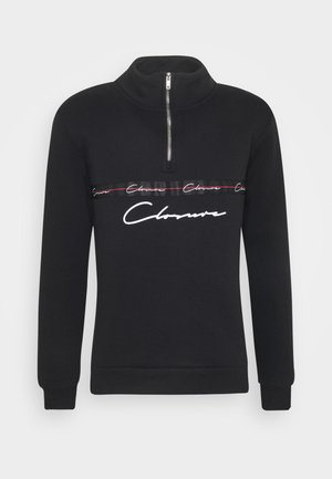TAPED HALF ZIP FUNNEL NECK - Sweatshirt - black