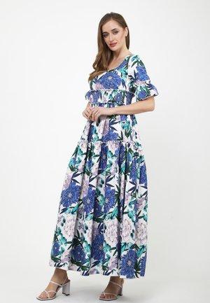 SALAMEA - Robe longue - weiß, kornblumenblau