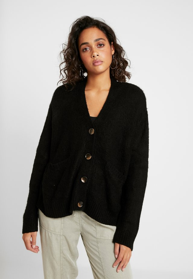 KATE BRUSHED CARDI - Strickjacke - black