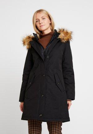 COAT SHAPED PADDED HOOD FLAP POCKETS - Winter coat - black