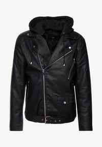 HARLEY BIKER  - Faux leather jacket - black