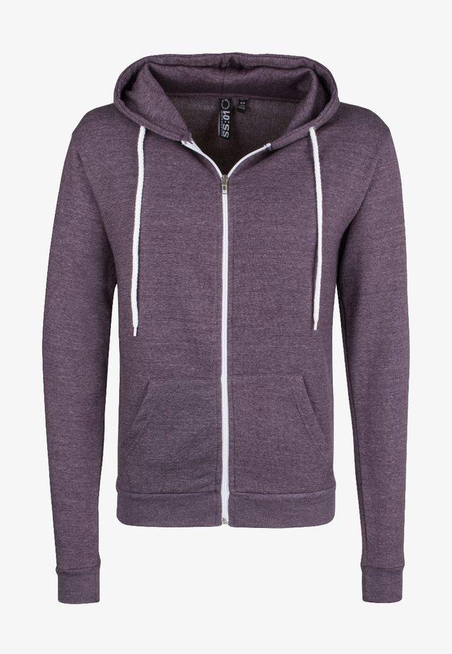Zip-up hoodie - pflaume melange