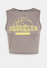 Missguided - BROOKLYN BASKETBALL RACER NECK CROP - Top - charcoal - 0