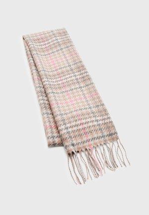 BARMACK HOUNDSTOOTH TARTAN SCARF - Scarf - taupe/pink tartan