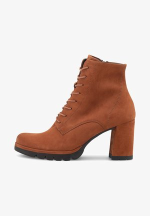 Lace-up ankle boots - mittelbraun