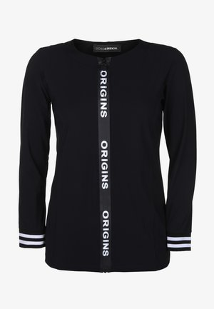 MIT WORDING-ZIPPER - Fleece jacket - black/white