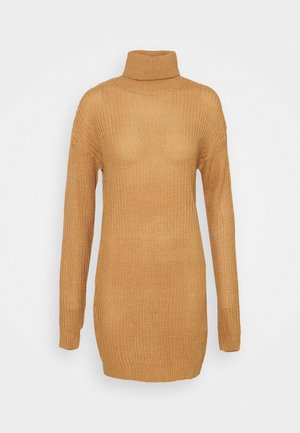 ROLL NECK BASIC DRESS - Strikket kjole - camel