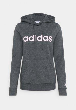 Hoodie - dark grey heather/pink