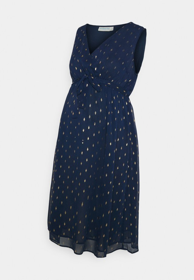 PRINT WRAP DRESS - Cocktailklänning - navy