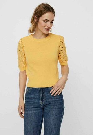 VMNEWFLOWERS O NECK - Print T-shirt - cornsilk