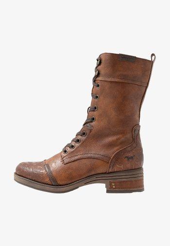 Lace-up boots - cognac