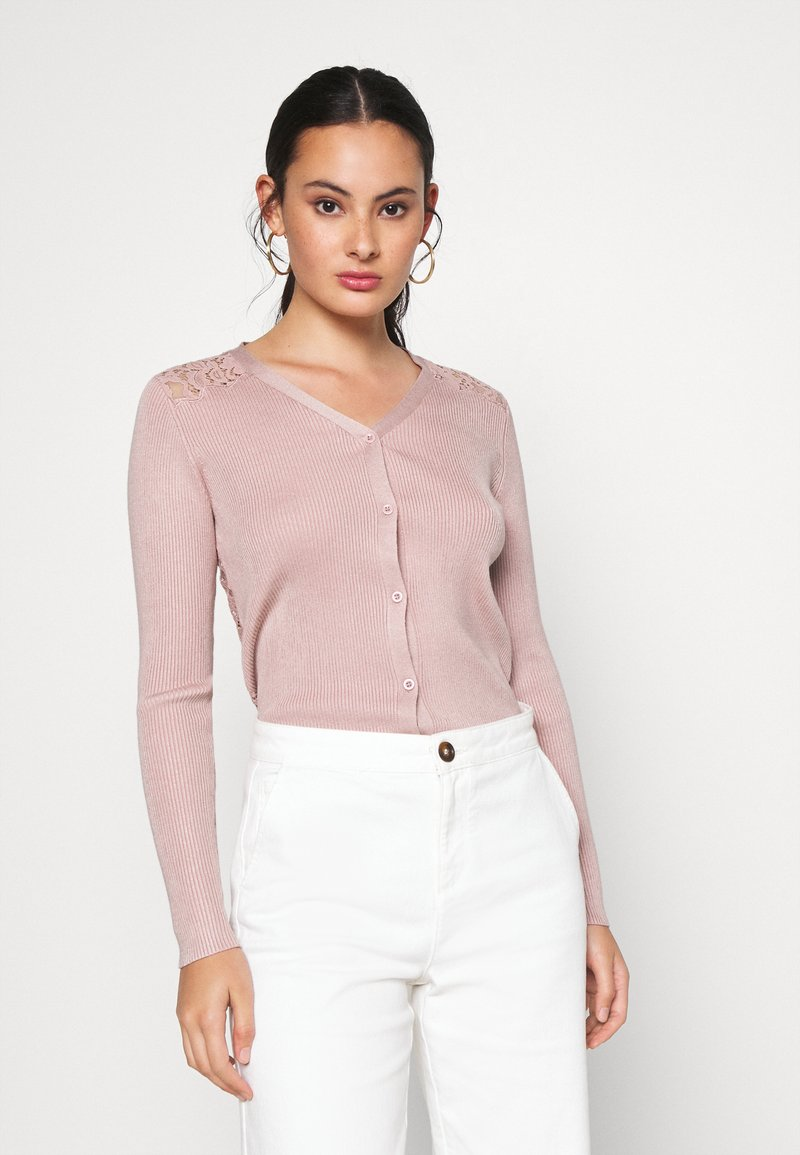 New Look - LACE BACK CARDIGAN - Cardigan - pale pink