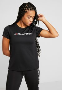 Tommy Sport - TEE CHEST LOGO - Print T-shirt - black - 0
