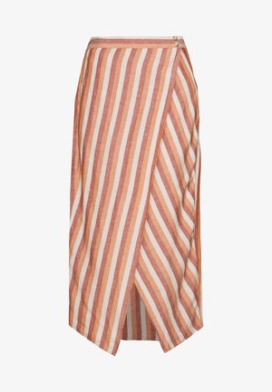 OVERLAY MIDI SKIRT IN STRIPE - A-line skirt - pink/white