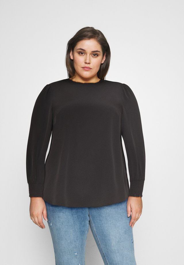 PLAIN SHIRRED CUFF - Blouse - black