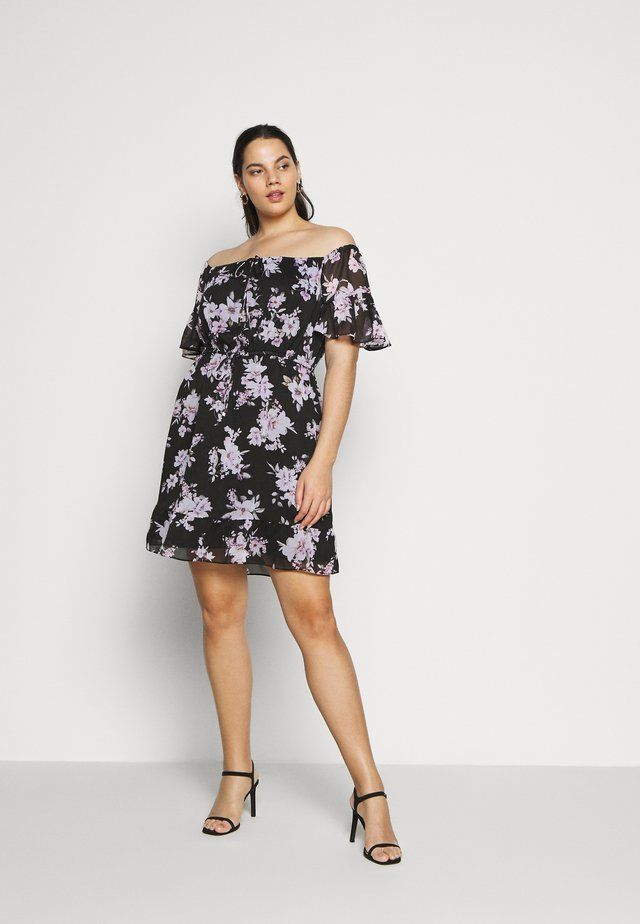 ZOEY FLARE SLEEVE BARDOT CURVE DRESS  - Vapaa-ajan mekko - midnight bloom