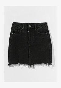 Bershka - HIGH WAIST - Denim skirt - black - 4