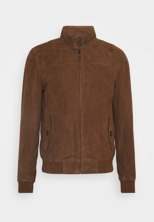 HANK - Leather jacket - tobacco