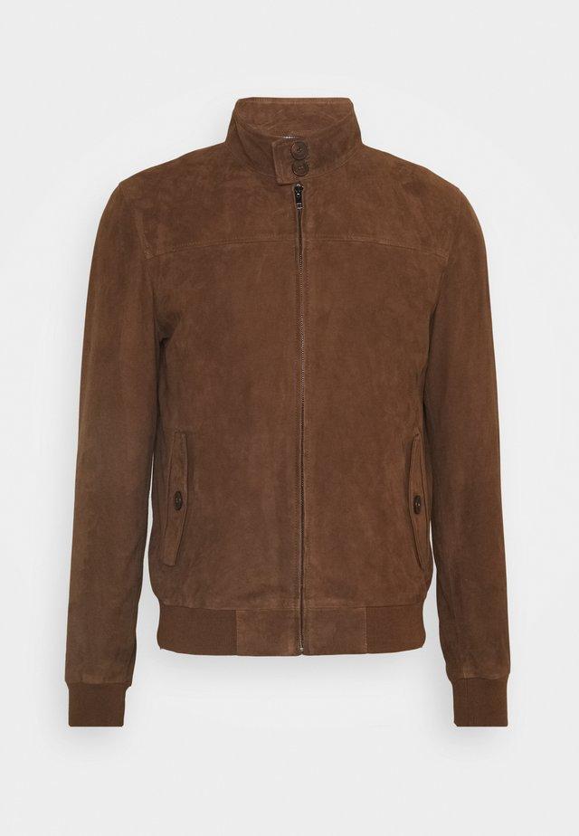 HANK - Leather jacket - tobacco