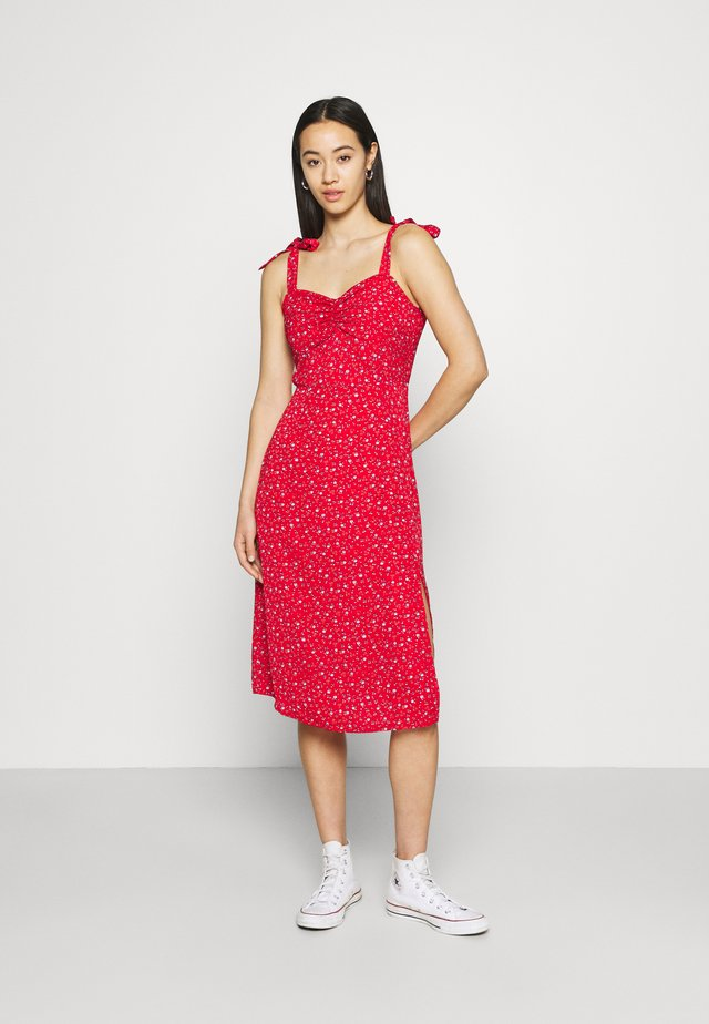 DITSY TIE SHOULDER MIDI DRESS - Day dress - red