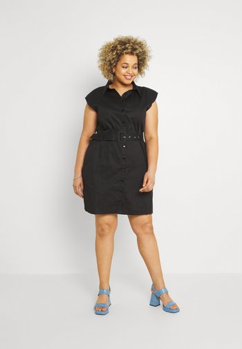 PLUS PAD SHIRT DRESS - Shirt dress - black