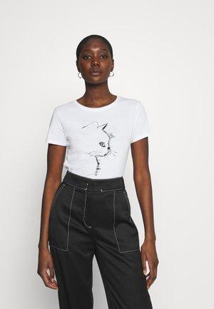 CAT PRINTED TEE - T-shirt med print - white