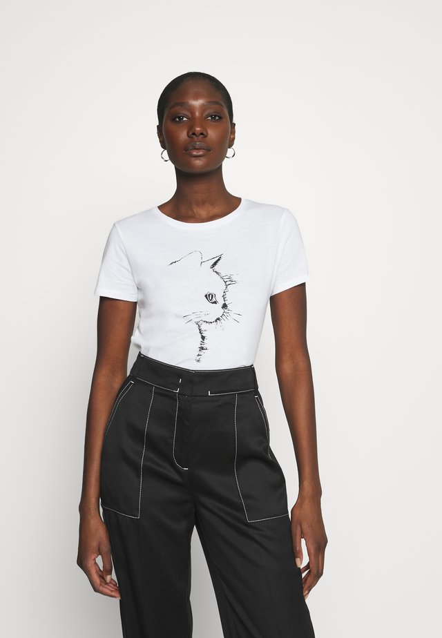 CAT PRINTED TEE - T-shirt med print - white