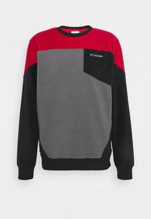 LODGE™ FLEECE CREW - Fleecová mikina - city grey/black/mountain red