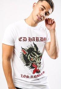 Ed Hardy - LA-WOLF T-SHIRT - Print T-shirt - white - 1