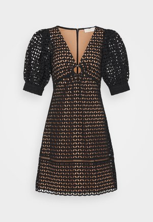 GEO EYELET MINI DRESS - Denní šaty - black