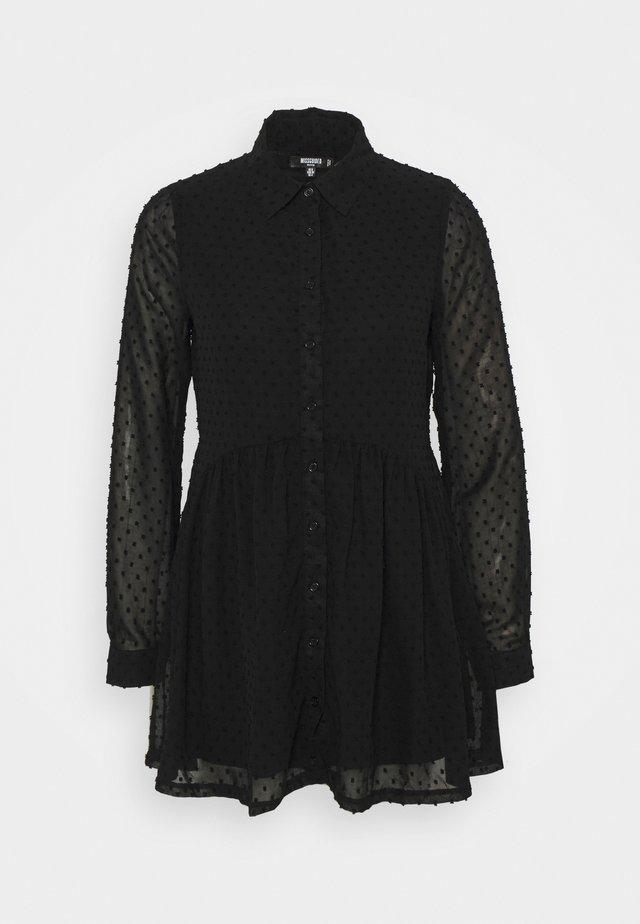 DOBBY SPOT SMOCK DRESS - Shirt dress - black