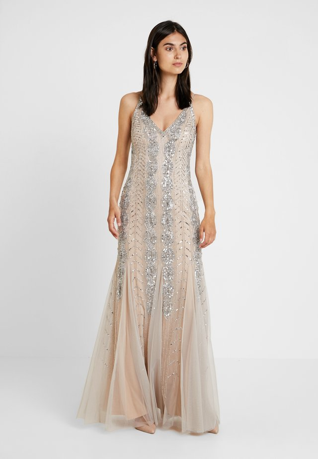 BEADED LONG DRESS - Abito da sera - silver/nude