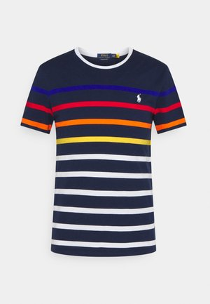 SLIM FIT STRIPED CREWNECK - Print T-shirt - newport navy/multi