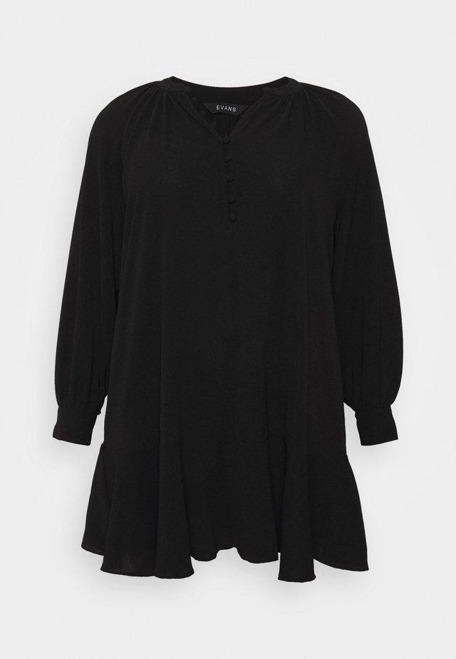 PEPLUM HEM BUTTON DRESS - Vestito estivo - black