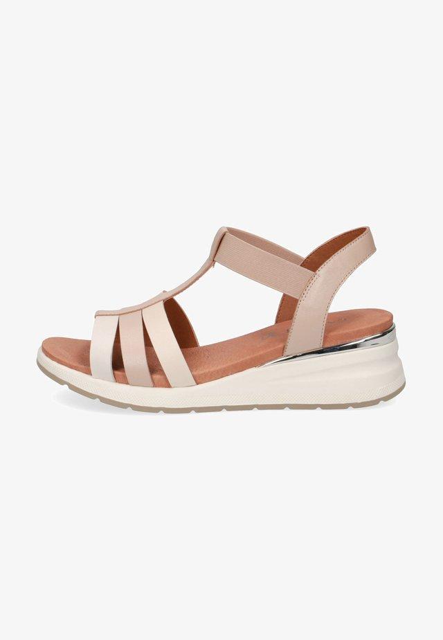 Sandalen met plateauzool - beige comb