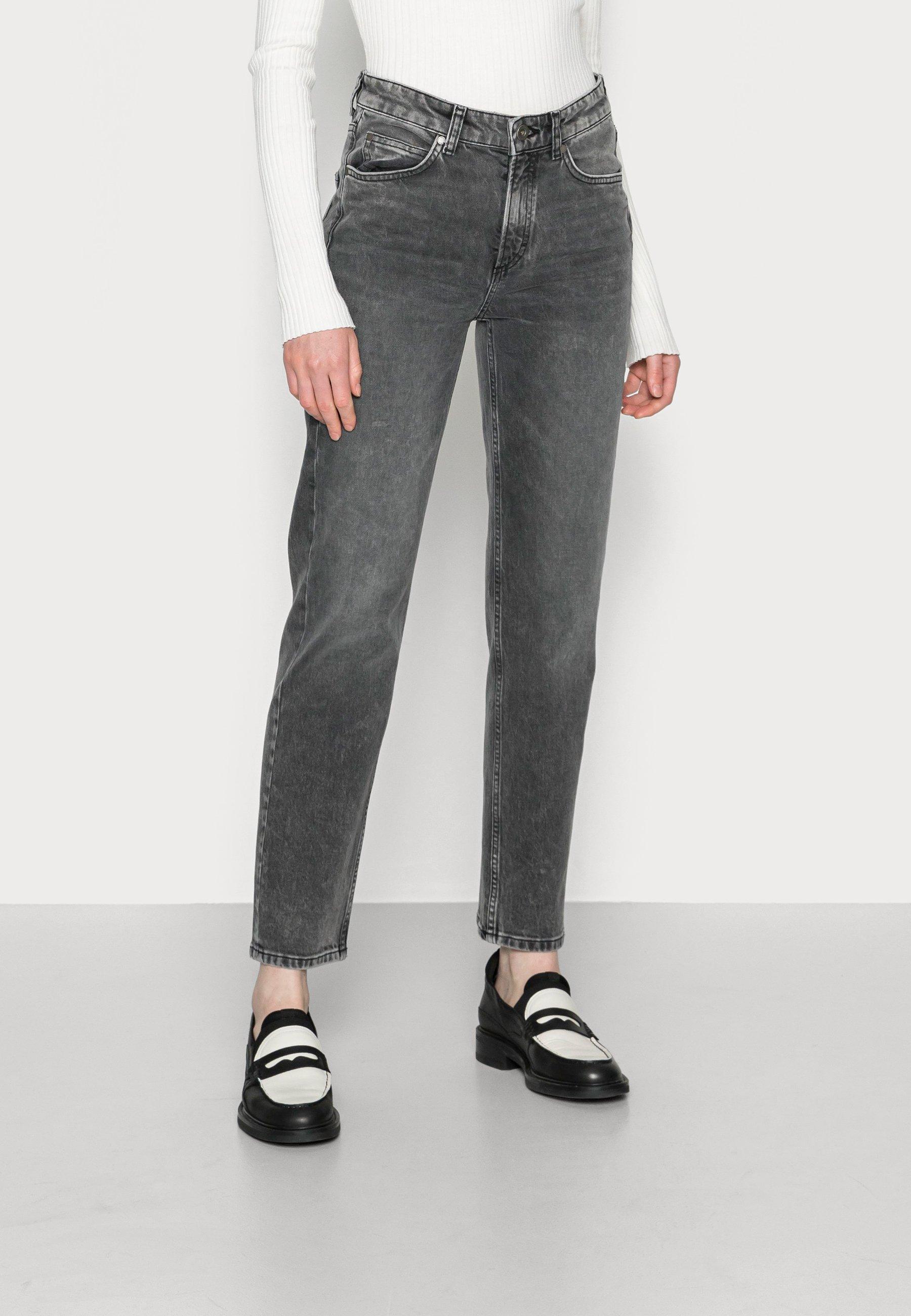 Damer TROUSER HIGH WAIST CROPPED LENGTH - Jeans Straight Leg