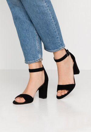 LEATHER HEELED SANDALS - Korolliset sandaalit - black