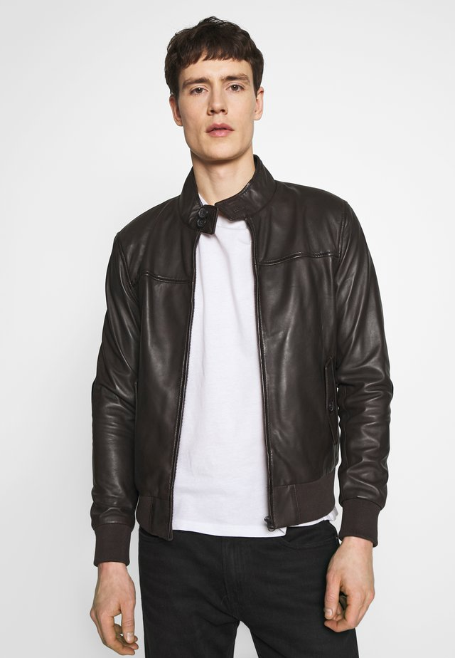 HANK - Leather jacket - brown