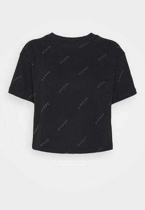 CROP - Print T-shirt - jet black