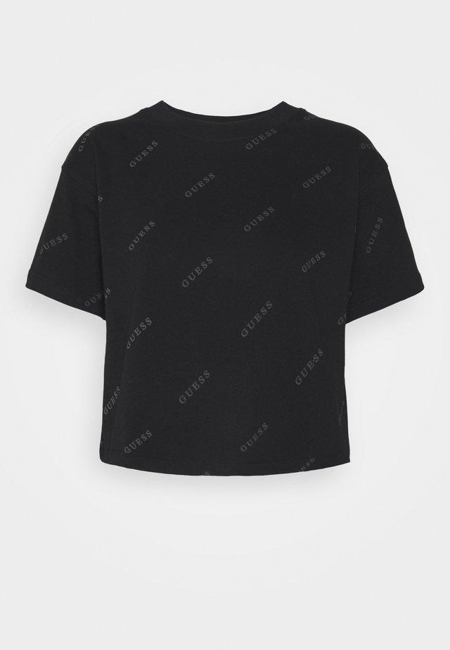 CROP - T-shirt imprimé - jet black