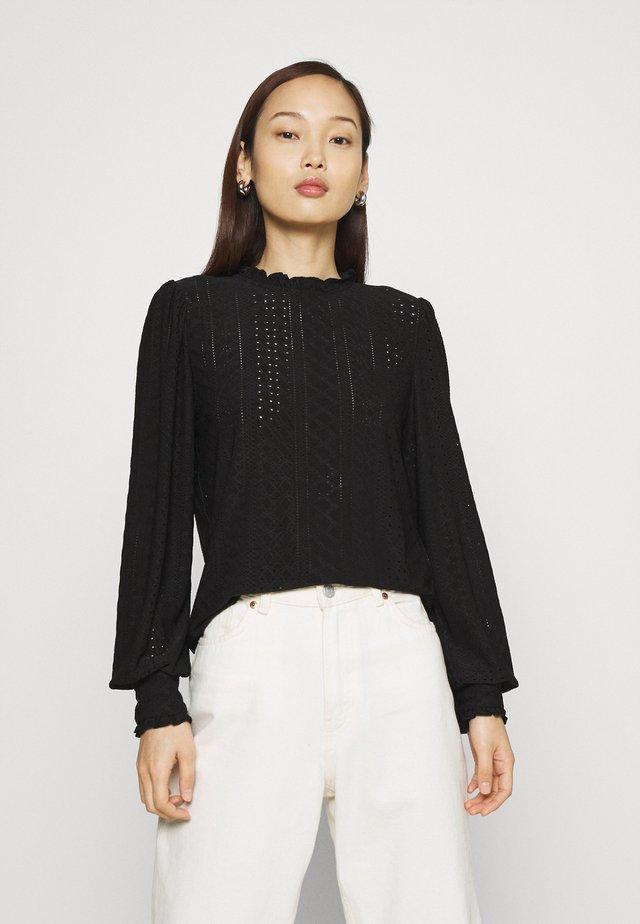 VIKATHY EMBROIDERY - T-shirt à manches longues - black