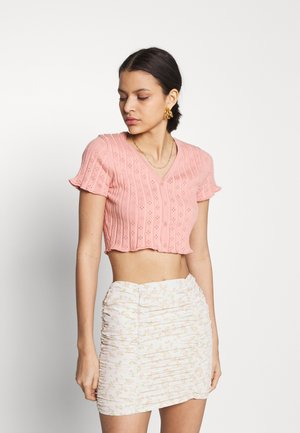 CROP WITH LETTUCE SHORT SLEEVES AND V NECK - Basic T-shirt - dusty peach