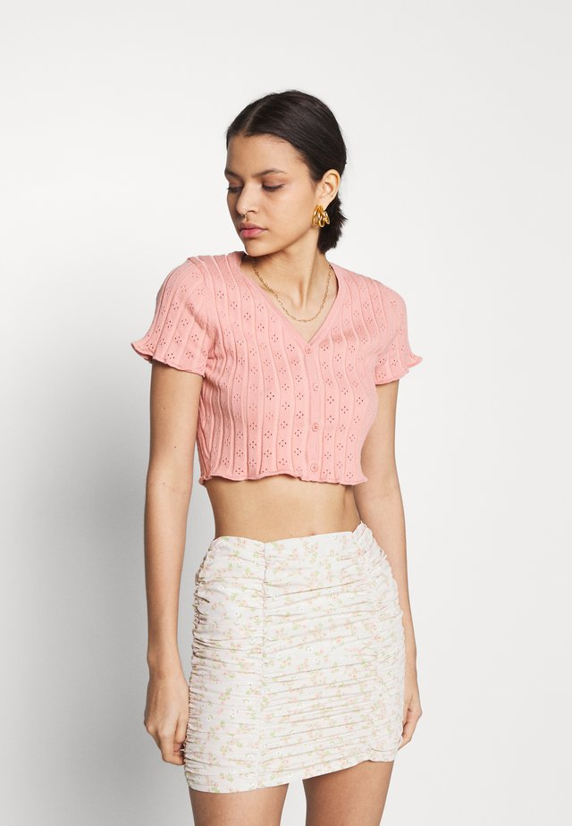 CROP WITH LETTUCE SHORT SLEEVES AND V NECK - Jednoduché triko - dusty peach