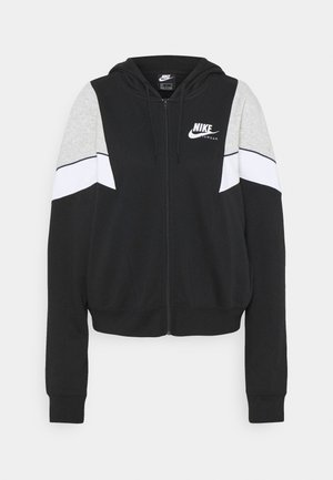 HERITAGE - Zip-up hoodie - black/grey heather/white
