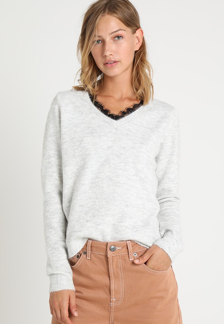 Vero Moda - VMIVA - Jumper - light grey melange/w. snow melange