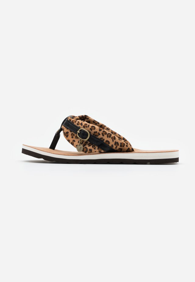 SLIDES - Sandalias de dedo - brown/black