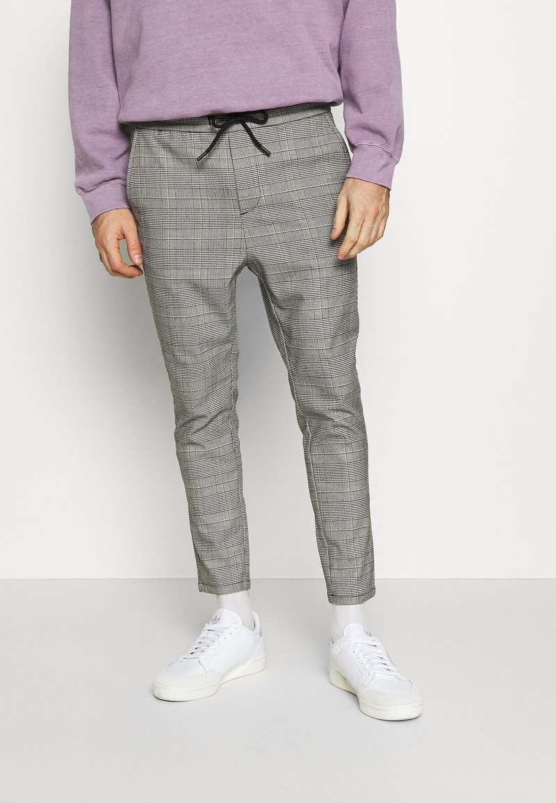 Only & Sons - ONSLINUS CROPPED CHECK PANT  - Kalhoty - medium grey melange