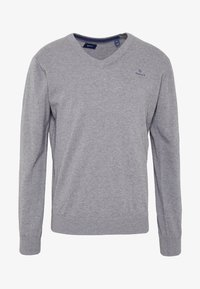 GANT - CLASSIC COTTON V-NECK - Jumper - dark grey melange - 3