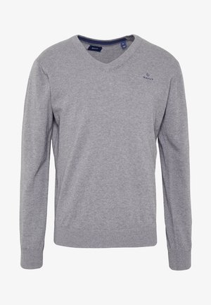 CLASSIC COTTON V-NECK - Stickad tröja - dark grey melange