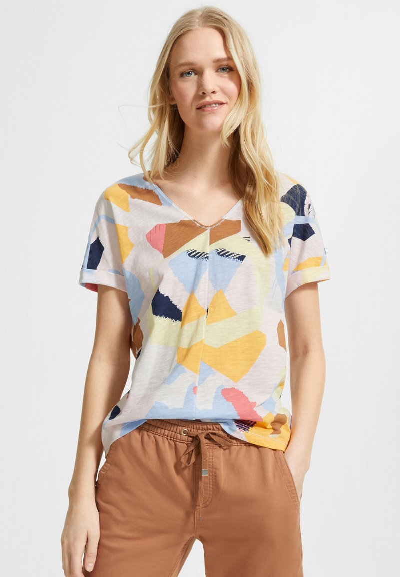 comma casual identity - MIT ALLOVER-PRINT - Print T-shirt - blush abstract geo